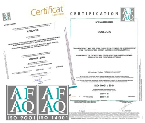 certificat ISO pour recyclage mobilier